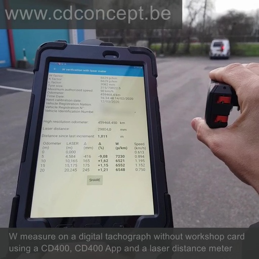 Laser distance meter kit for W measure on digital tachograph without workshop card