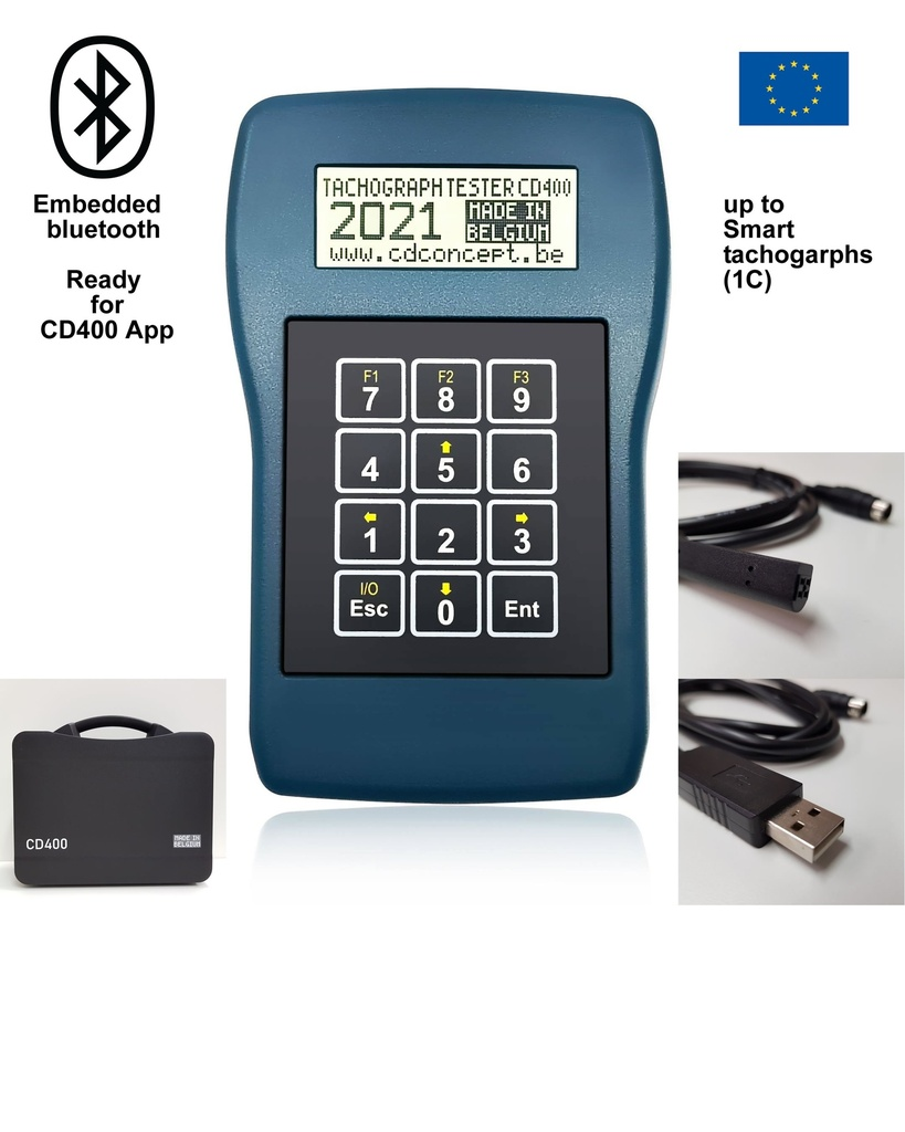 [KIT-CD400-DT-EBT] Tachograph programmer CD400-EU for digital tachographs up to Smart tachographs (Annex 1C / GEN-2) with embedded Bluetooth
